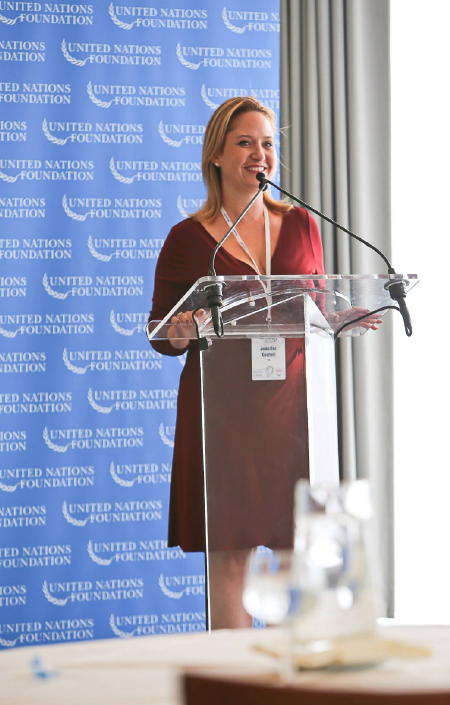 Jennifer Kushell speaking at the United Nations
